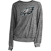 NFL Team Apparel Women's Philadelphia Eagles Logo Charcoal Long Sleeve Crew