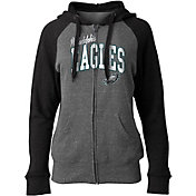 NFL Team Apparel Women's Philadelphia Eagles Tri-Blend Grey Full-Zip Hoodie