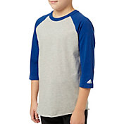 adidas Boys' Triple Stripe ¾ Sleeve Heather Baseball Shirt
