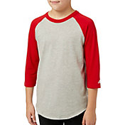 adidas Boys' Triple Stripe ¾ Sleeve Heather Baseball Shirt