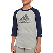 adidas Boys' Triple Stripe ¾ Sleeve Graphic Baseball T-Shirt