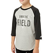 adidas Boys' Triple Stripe ¾ Sleeve Graphic Baseball Shirt