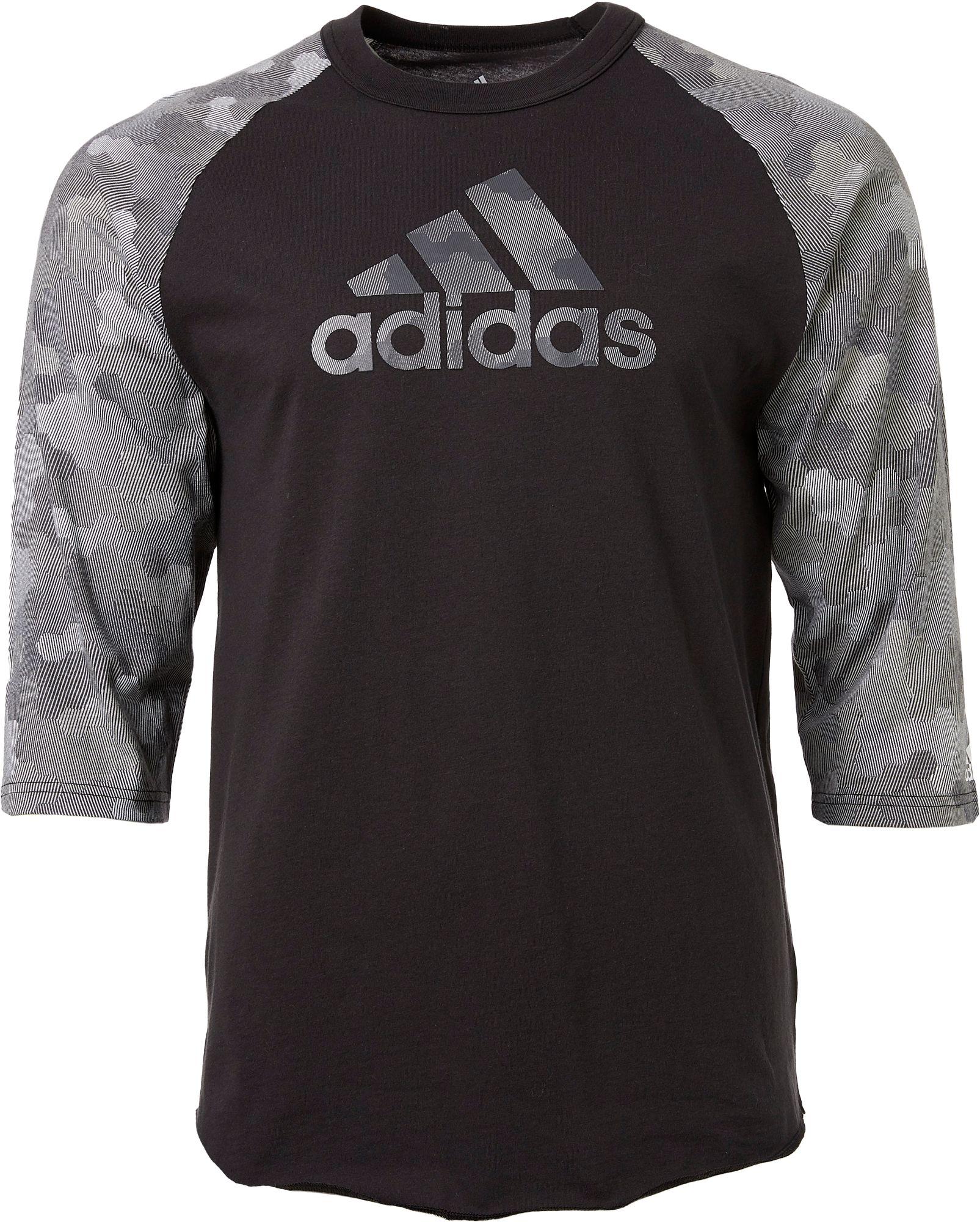 adidas Boys' Triple Stripe Printed ¾ Sleeve Baseball Graphic Shirt, Boy's, Size: XS, Grey Digi Camo Print thumbnail