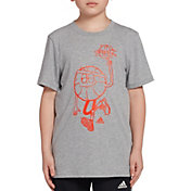 adidas Boys' Heather Lil' Stripe Graphic Basketball T-Shirt