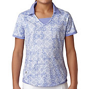 adidas Girls' Fashion Print Short Sleeve Golf Polo
