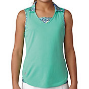 adidas Girls' Sleeveless Fashion Print Golf Polo
