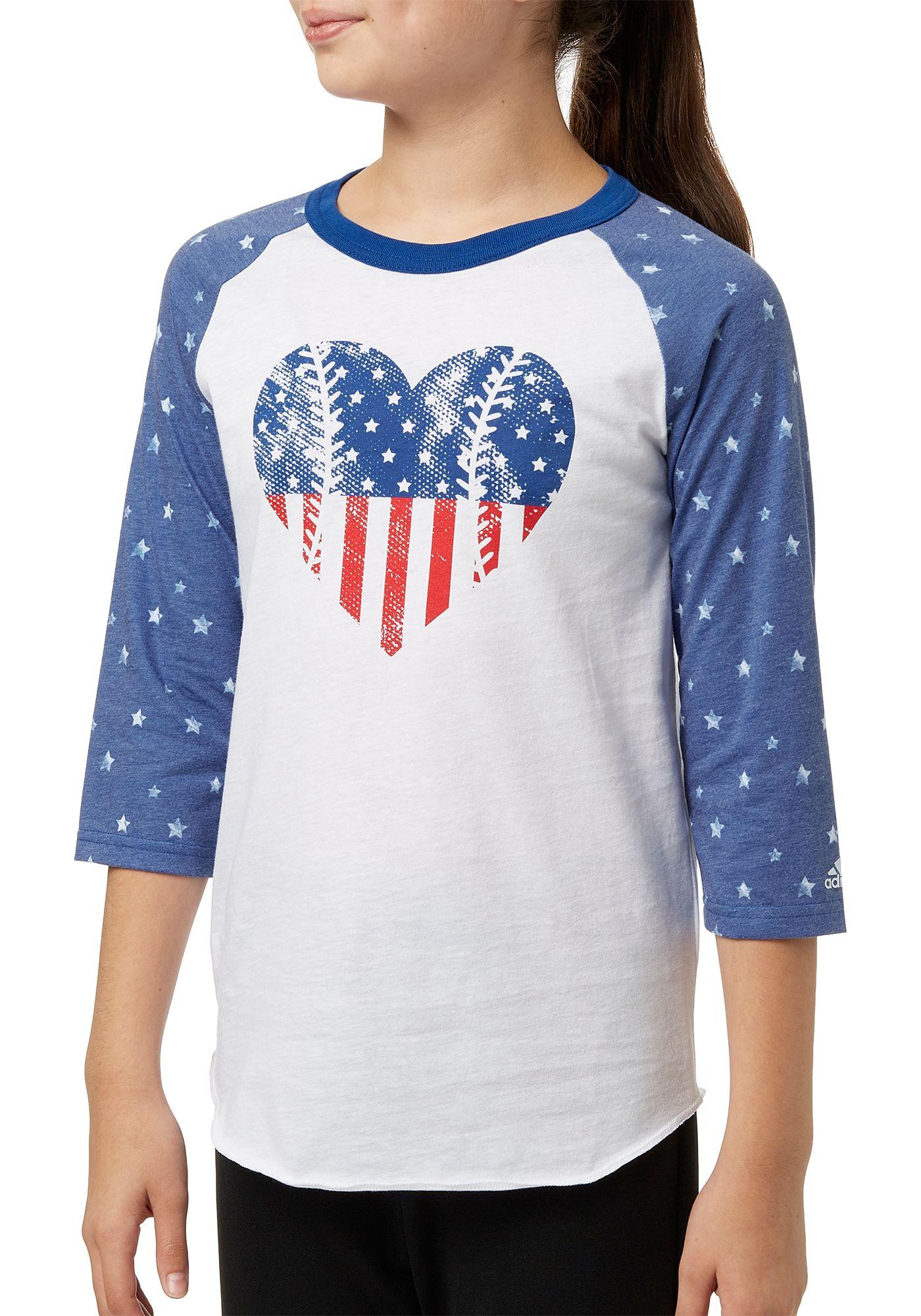 adidas Girls' Destiny ¾ Sleeve Printed Softball Graphic Shirt