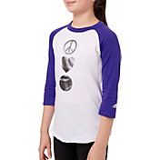 adidas Girls' ¾ Sleeve Softball Graphic Shirt