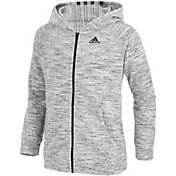 adidas Girls' Salt and Pepper Velour Jacket