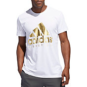 adidas Men's Gold Foil Badge of Sport Logo Basketball T-shirt