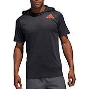 adidas Men's Three Stripe Life FreeLift All-American Short Sleeve Hoodie in Black