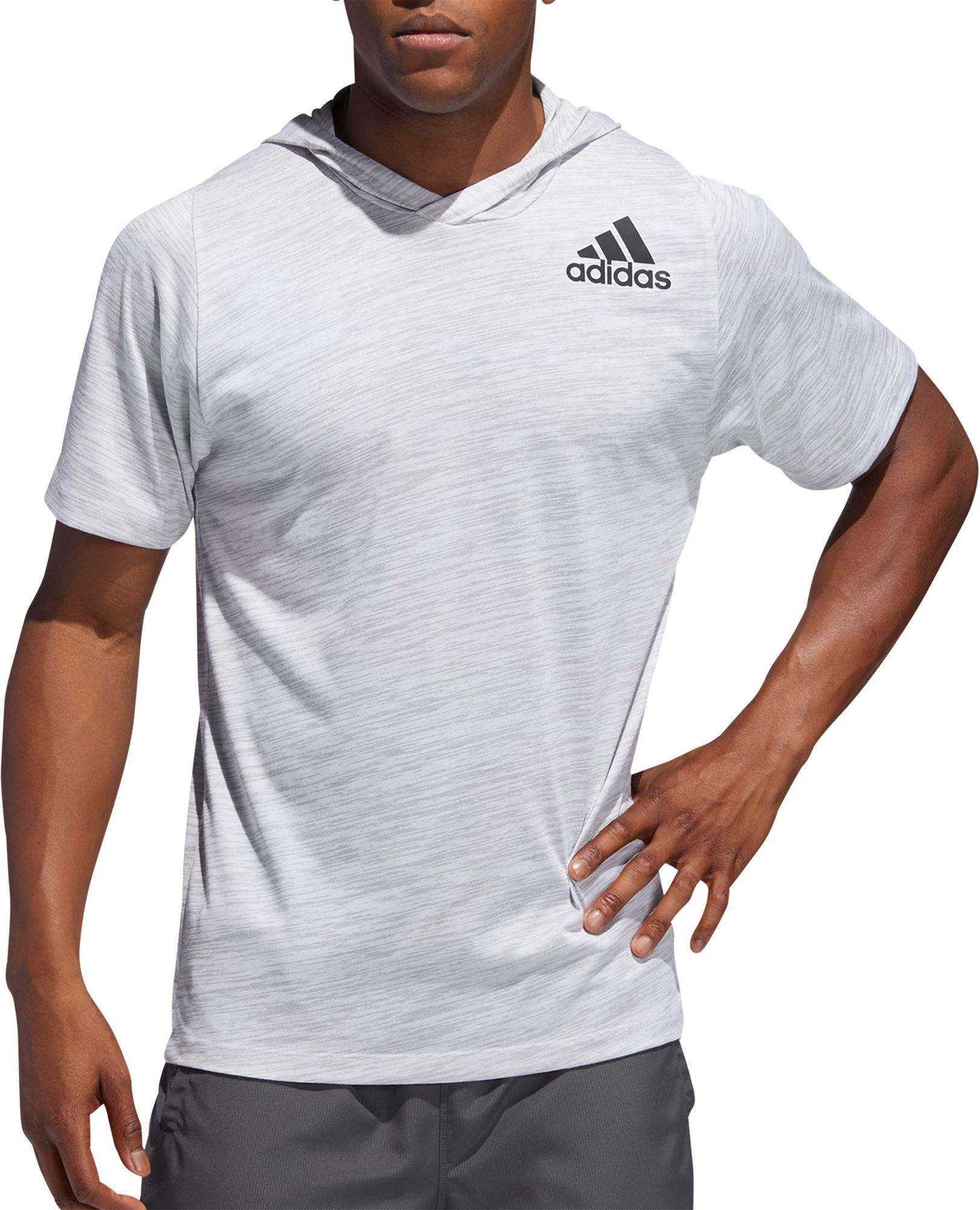 adidas men's pre game grey short sleeve hoodie