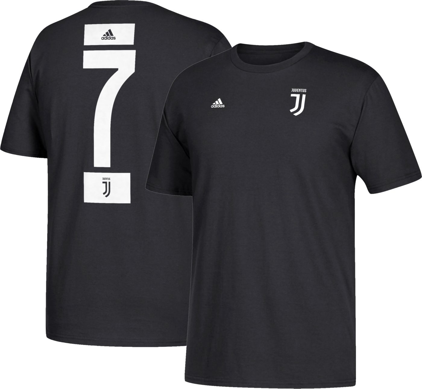 adidas Men's Juventus Cristiano Ronaldo #7 Black Player T-Shirt