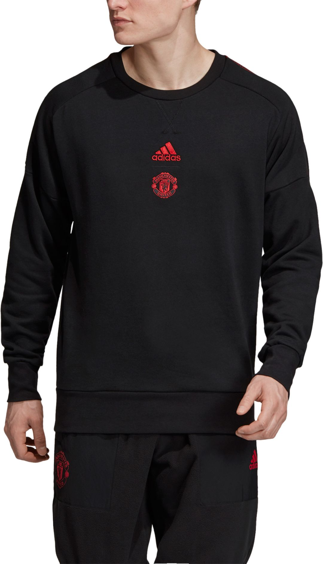 bas prix 2304a b5a59 adidas Men's Manchester United SSP Black Crew Neck Sweatshirt