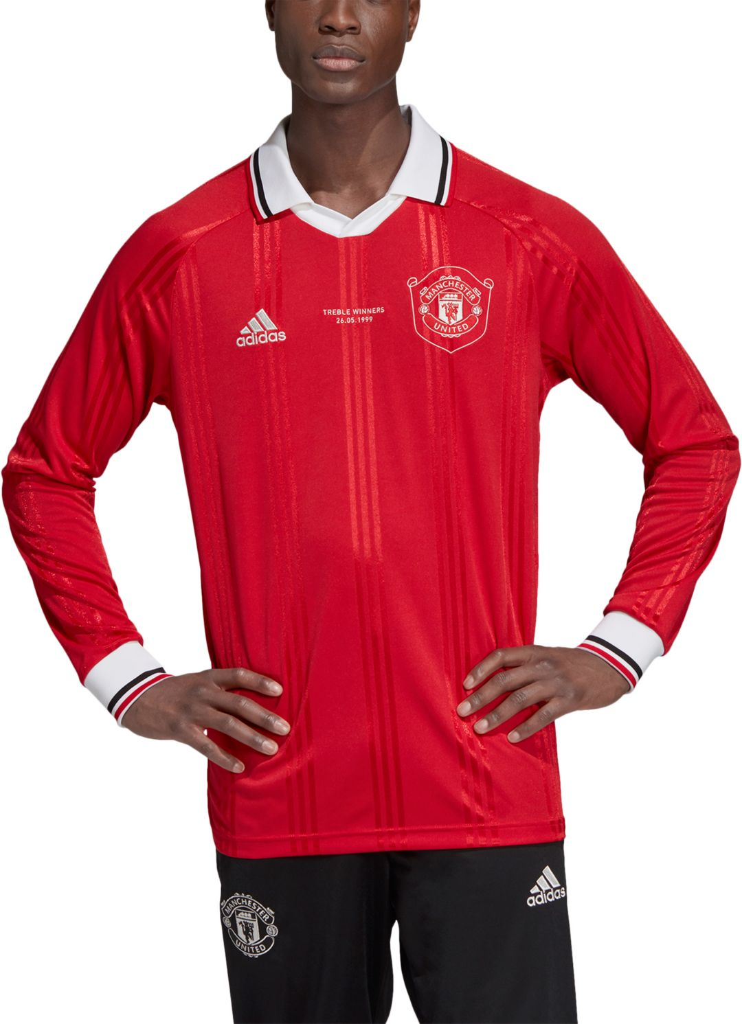 Adidas Men S Manchester United Icons Red Long Sleeve Shirt