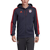 adidas Men's Bayern Munich Crest Red Full-Zip Hoodie