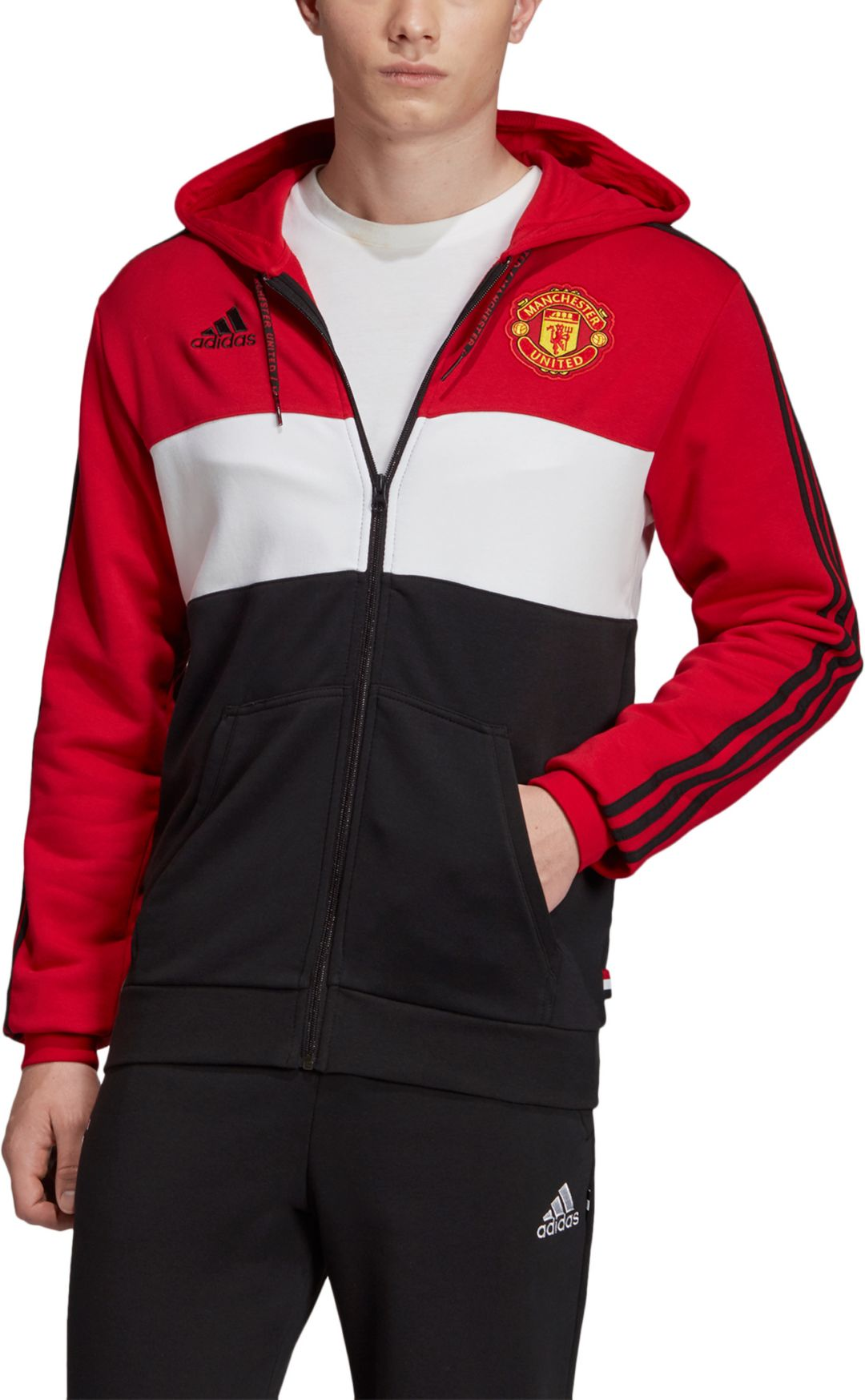 online store 3a96c 58fa4 adidas Men's Manchester United Crest Red Full-Zip Hoodie