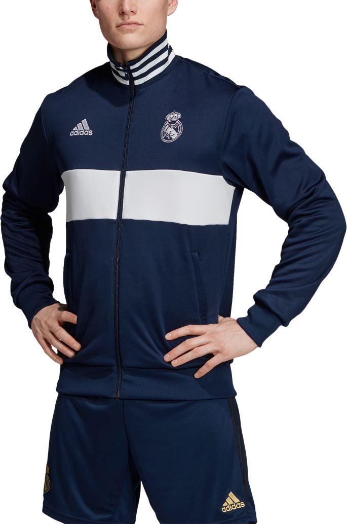 on sale de553 07740 adidas Men's Real Madrid 3-stripe Navy Track Jacket