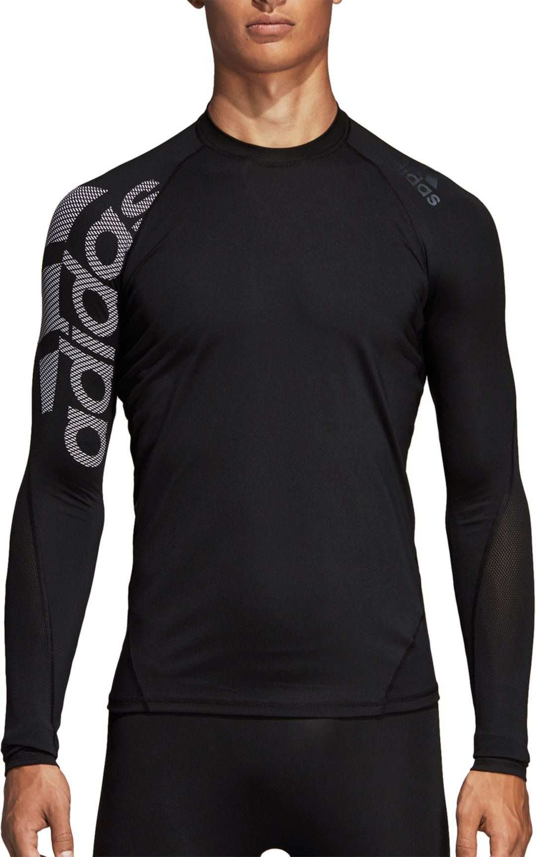 57a1a193 adidas Men's Alphaskin Badge of Sport Logo Compression Long Sleeve Shirt 1