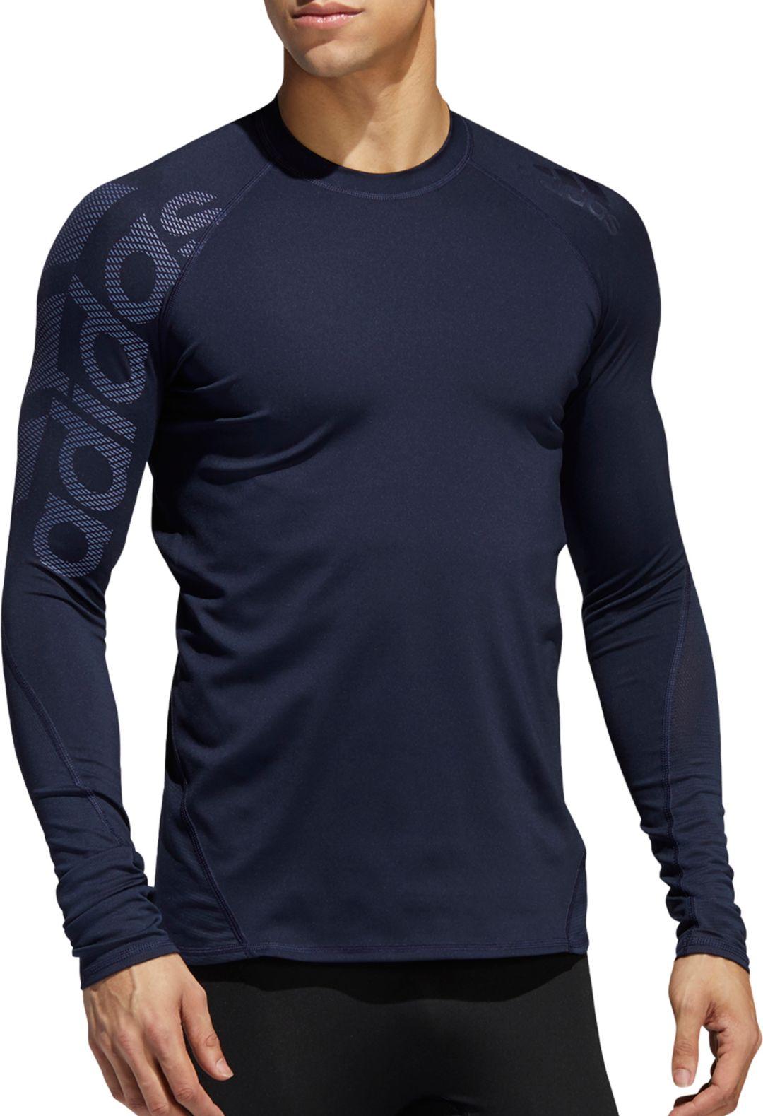 075a698e75098 adidas Men's Alphaskin Badge of Sport Logo Compression Long Sleeve Shirt