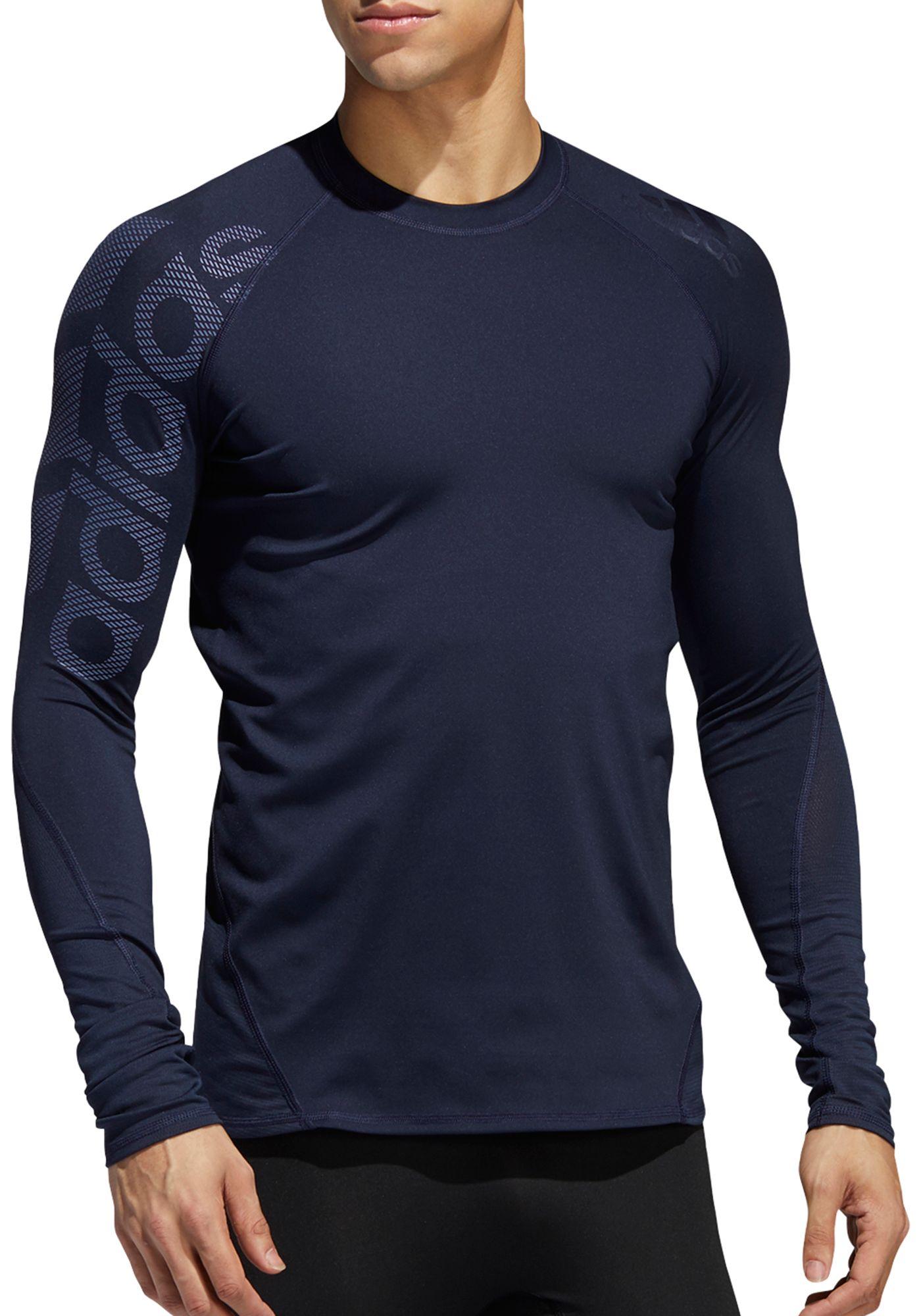 adidas Men's Alphaskin Badge of Sport Logo Compression Long Sleeve Shirt