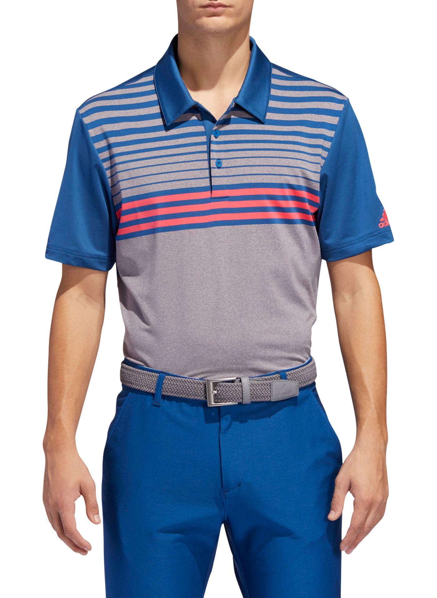 adidas Men's Ultimate365 3-Stripe Heather Gradient Golf Polo