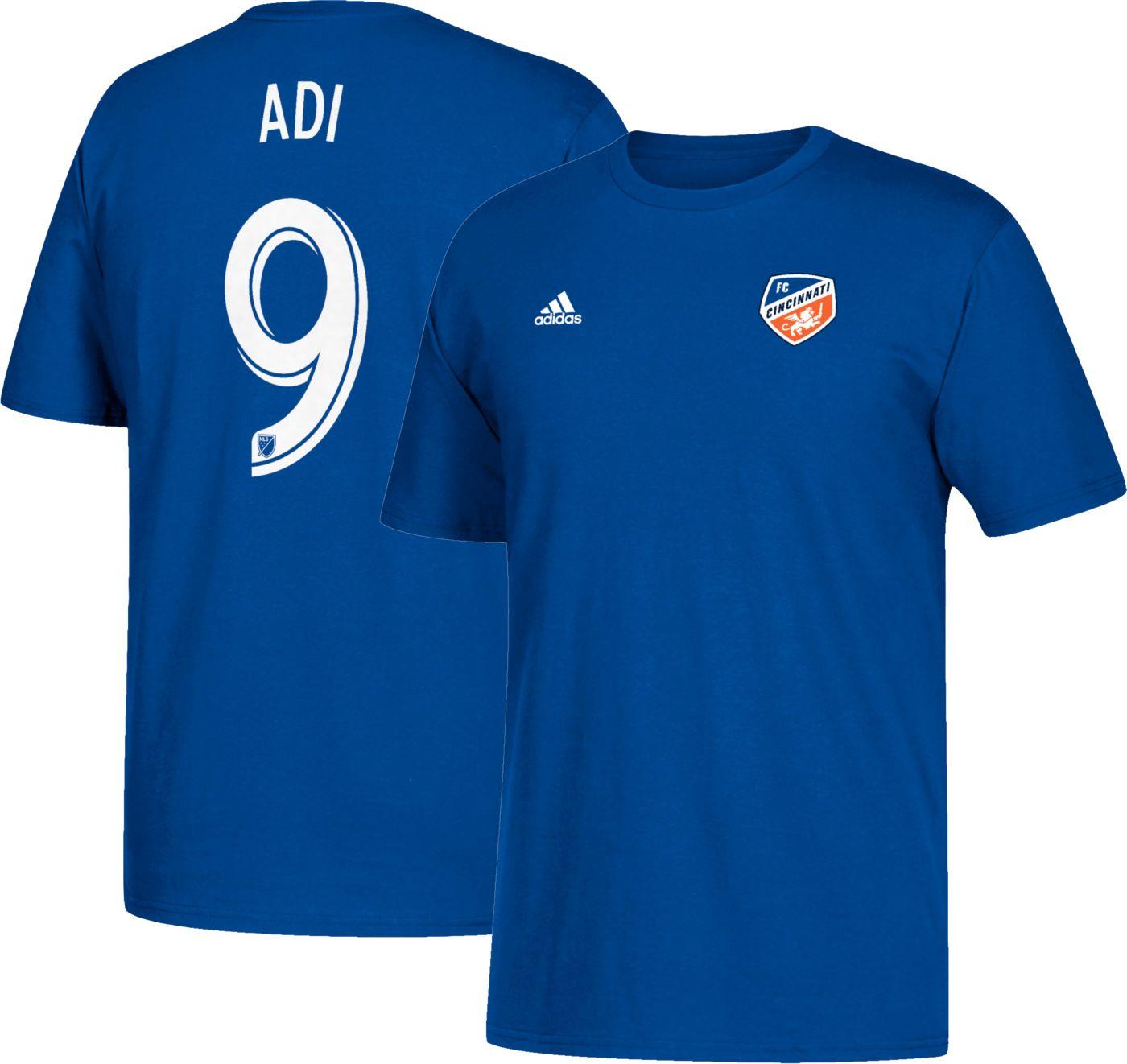 adidas Men's FC Cincinnati Fanendo Adi #9 Blue Player T-Shirt