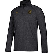 adidas Men's Los Angeles FC Ultimate Black Heathered Performance Quarter-Zip Pullover
