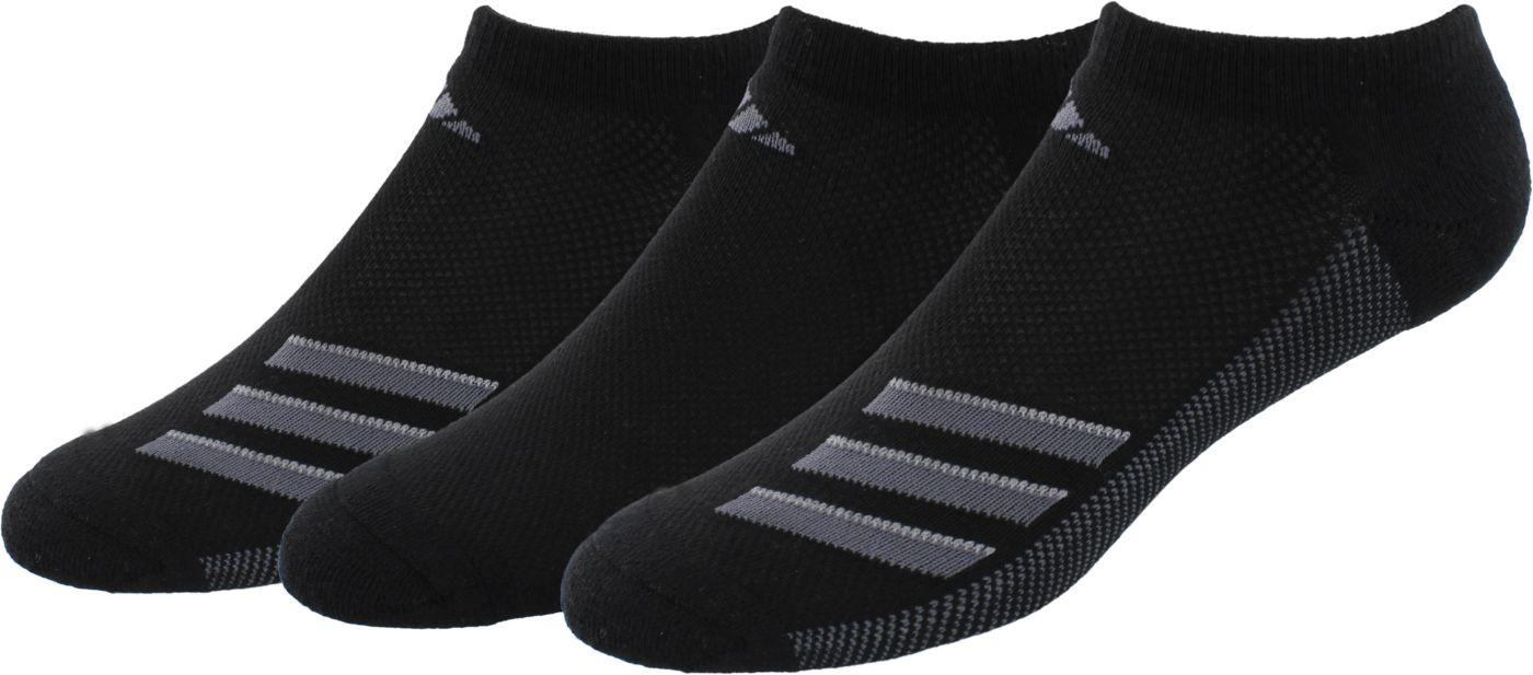 adidas Men's Superlite Stripe No Show Socks 3 Pack