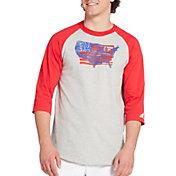 adidas Men's Triple Stripe Graphic ¾ Sleeve Baseball Shirt