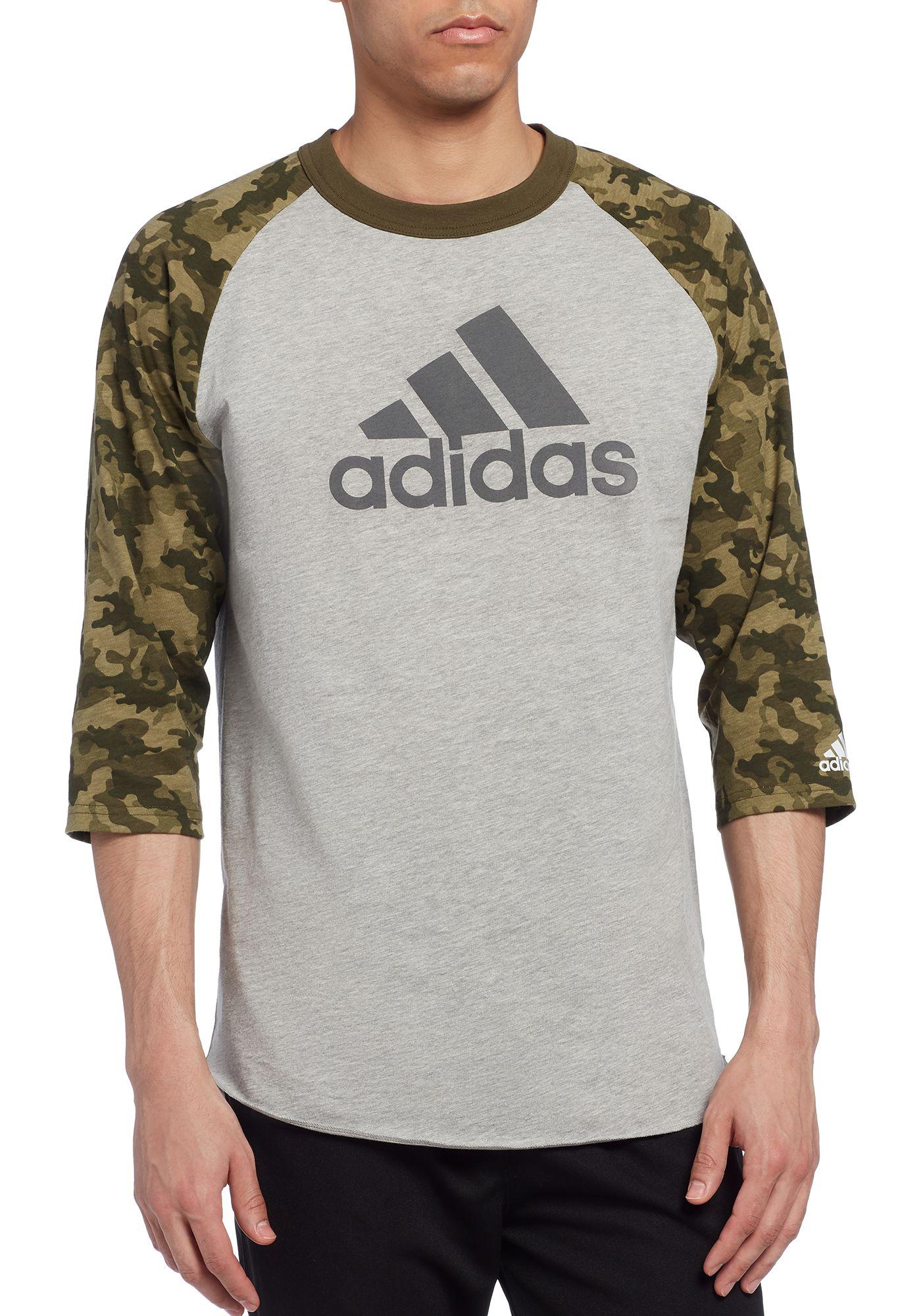 adidas Men's Triple Stripe Printed ¾ Sleeve Baseball Shirt