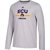 adidas Men's East Carolina Pirates Grey Go-To Long Sleeve Performance Shirt