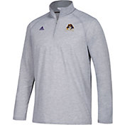 adidas Men's East Carolina Pirates Grey Long Sleeve Performance Quarter-Zip Shirt