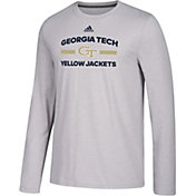 adidas Men's Georgia Tech Yellow Jackets Grey Go-To Long Sleeve Performance Shirt