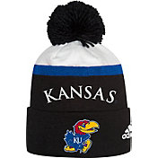 adidas Men's Kansas Jayhawks Cuffed Pom Knit Black Beanie