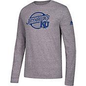 adidas Men's Kansas Jayhawks Grey Long Sleeve Tri-Blend T-Shirt