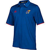 adidas Men's Kansas Jayhawks Blue Sideline Iconic Polo