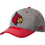 adidas Men's Louisville Cardinals Grey/Cardinal Red Structured Adjustable Hat