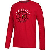 adidas Men's Louisville Cardinals Cardinal Red Center Court Long Sleeve Basketball T-Shirt