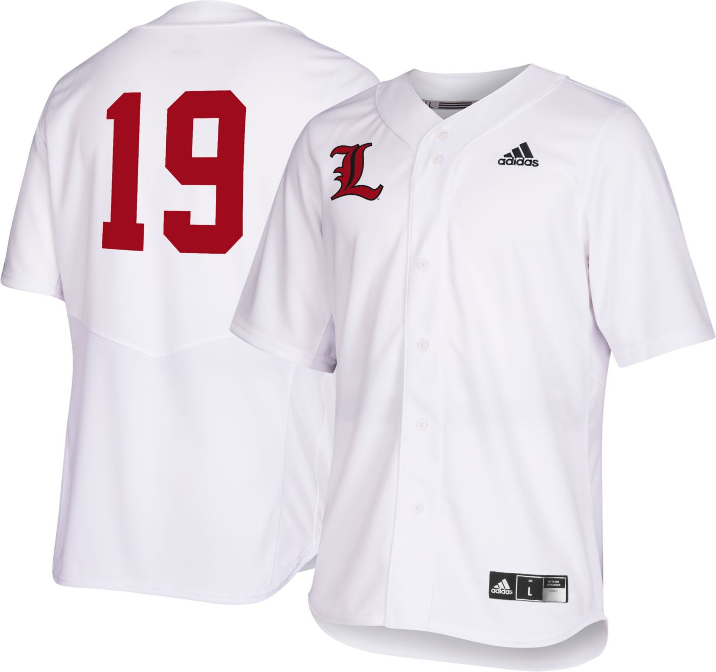 adidas Men's Louisville Cardinals #19 Replica Baseball White Jersey