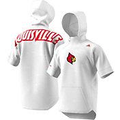 adidas Men's Louisville Cardinals Short Sleeve Shooter Basketball White Hoodie