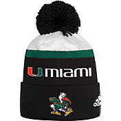 adidas Men's Miami Hurricanes Cuffed Pom Knit Black Beanie