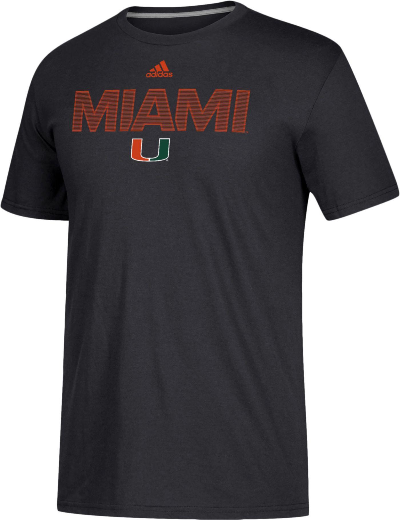 adidas Men's Miami Hurricanes Go-To Performance Black T-Shirt