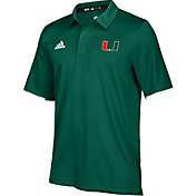 adidas Men's Miami Hurricanes Green Sideline Iconic Polo