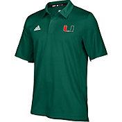 adidas Men's Miami Hurricanes Green Sideline Iconic Polo
