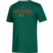 adidas Men's Miami Hurricanes Green Go-To Performance T-Shirt