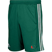 adidas Men's Miami Hurricanes Green 3-Stripes Knit Performance Shorts