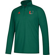adidas Men's Miami Hurricanes Green Long Sleeve Performance Quarter-Zip Shirt