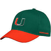 adidas Men's Miami Hurricanes Green Flex Football Sideline Hat
