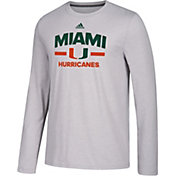 adidas Men's Miami Hurricanes Grey Go-To Long Sleeve Performance Shirt